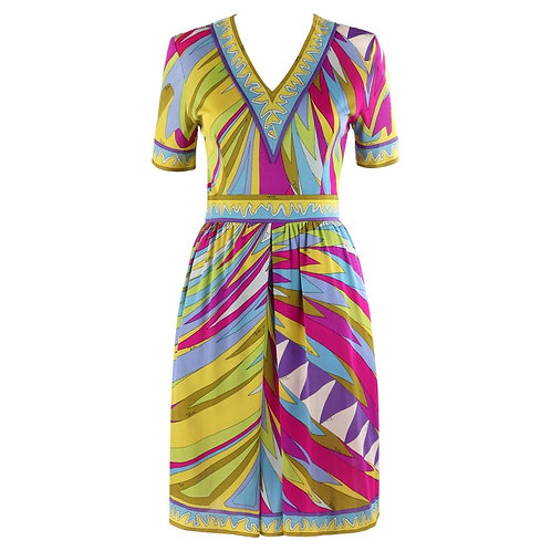 Emilio Pucci Op Art V-Neck Sheath Dress