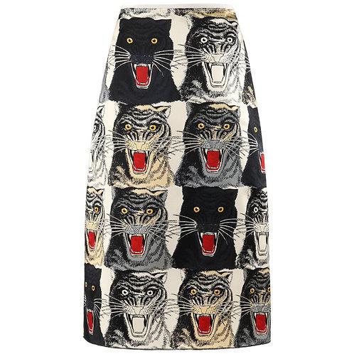 Gucci Tiger Face A-Line Skirt