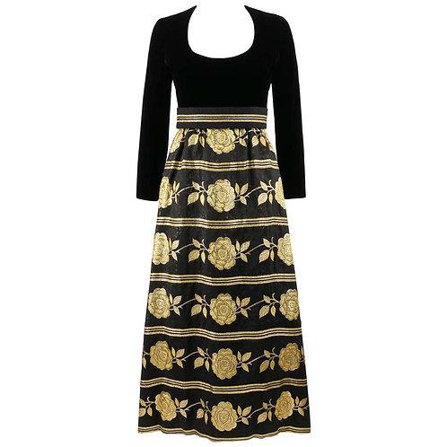 c.1960's Brocade Maxi Evening Dress