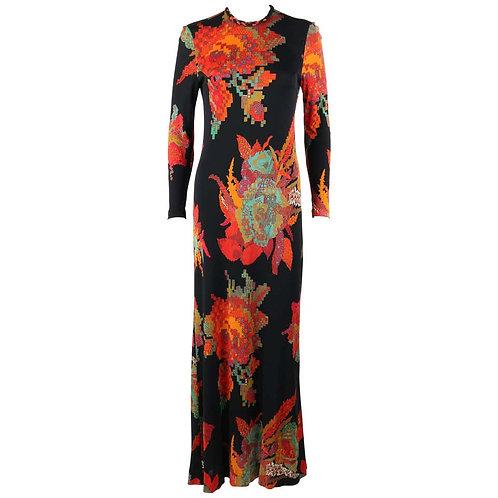 c.1960's Floral Print Maxi Dress