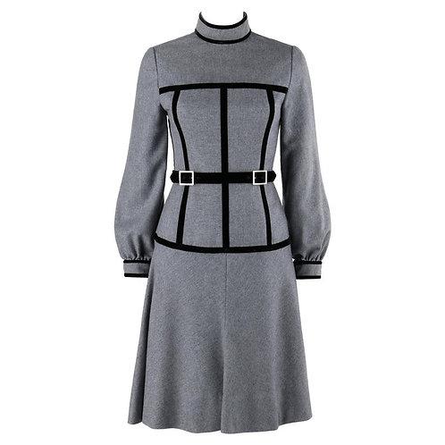 Oscar De La Renta Corset Trim Belted Dress