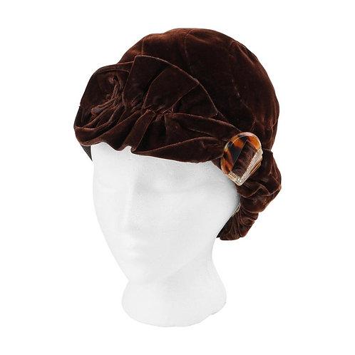Couture c.1920's Velvet Cloche Hat