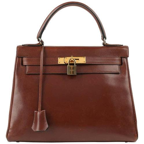 "Hermes c.1964 ""Kelly"" 28cm Box Calf Leather Purse"