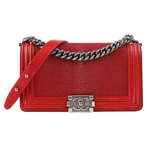 "Chanel ""Galuchat Stingray Medium Boy"" Flap Bag"