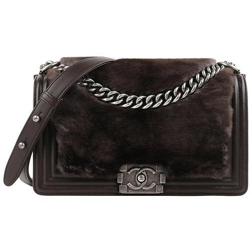 "Chanel ""Medium Boy"" Calfskin & Rabbit Handbag"