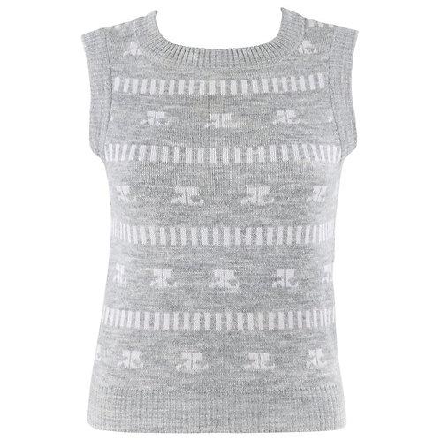 Courreges Logo Print Sweater Vest