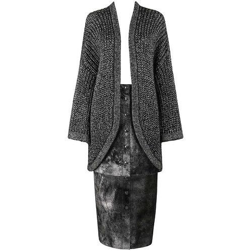 Krizia Maglia Metallic Cardigan Skirt Set