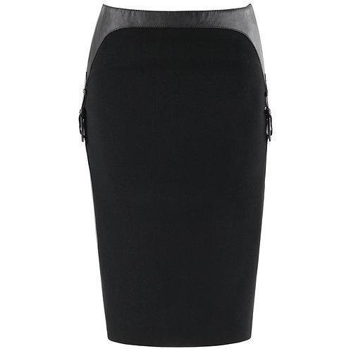 Alexander McQueen Leather Buckle Pencil Skirt
