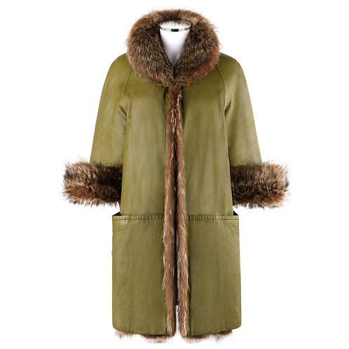 Bonnie Cashin Raccoon Fur & Leather Overcoat