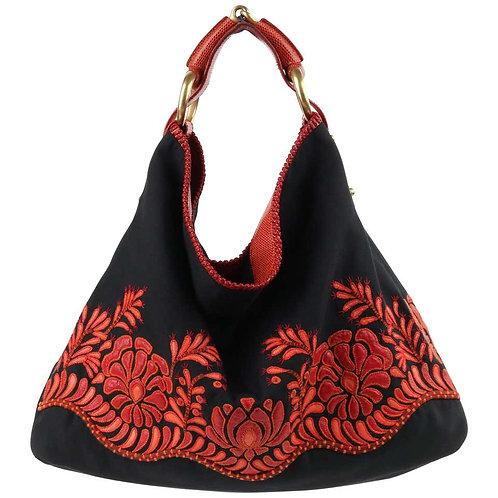 Gucci Canvas & Lizard Leather Handbag