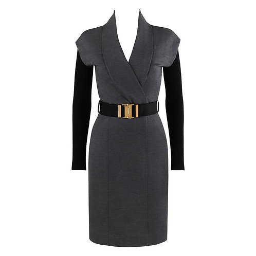 Gucci Belted Shawl Fold Dress