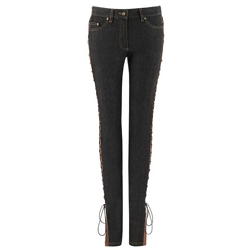 Alexander McQueen Laced Leather Skinny Jeans
