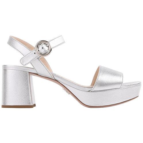 Prada Metallic Silver Block Heels