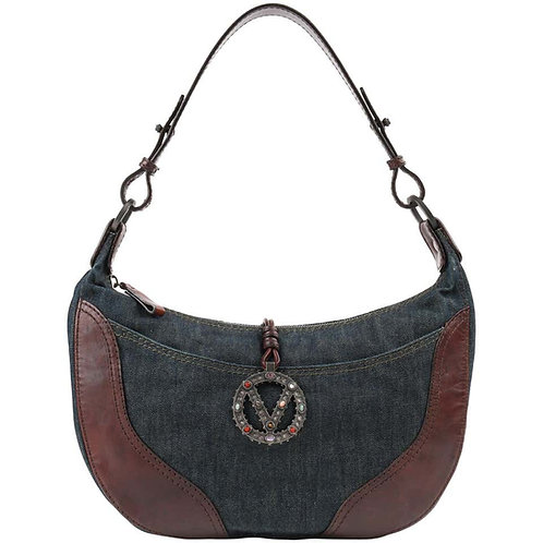 Valentino Denim & Leather Shoulder Bag