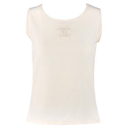 Chanel Silk Embroidered Tank Top