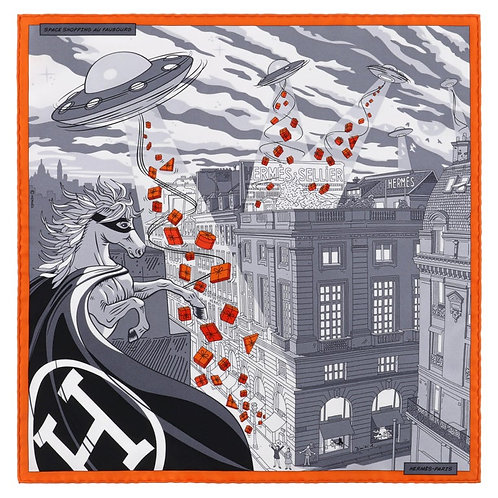 "Hermes ""Space Shopping Au Faubourg"" Scarf"