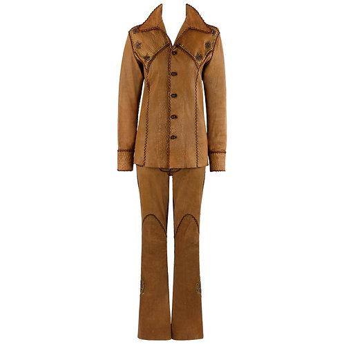 North Beach Leather Couture Deerskin Jeweled Suit