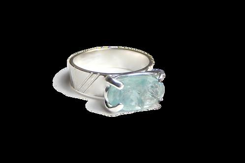 Sterling silver fluorite set ring