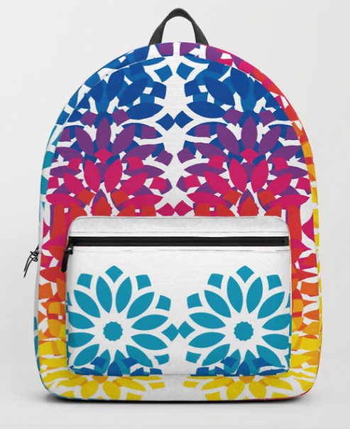 Big Glitter Rainbow Lotus Backpack