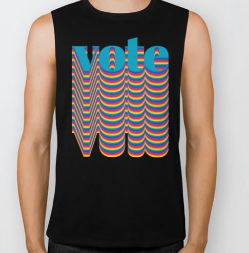 Big Glitter Vote Muscle Shirt Black