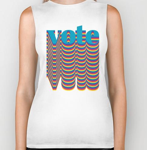 Big Glitter Vote Muscle Shirt White