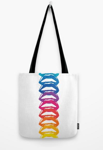 Big Glitter Rainbow Lips Tote Bag