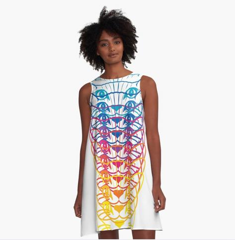 Big Glitter Rainbow Kitty Dress