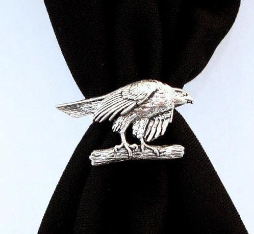 Hawk on Branch Bird of Prey Scarf Ring
