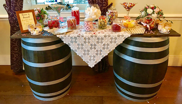 Whisky barrel sweet table for hire