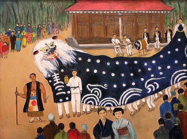 山形の祭りの獅子舞