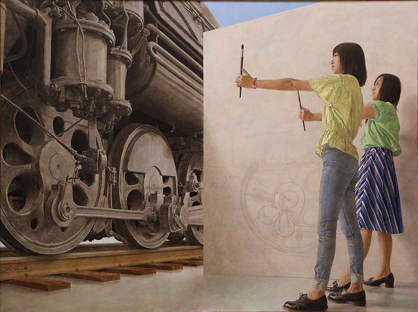 汽車を描く画学生