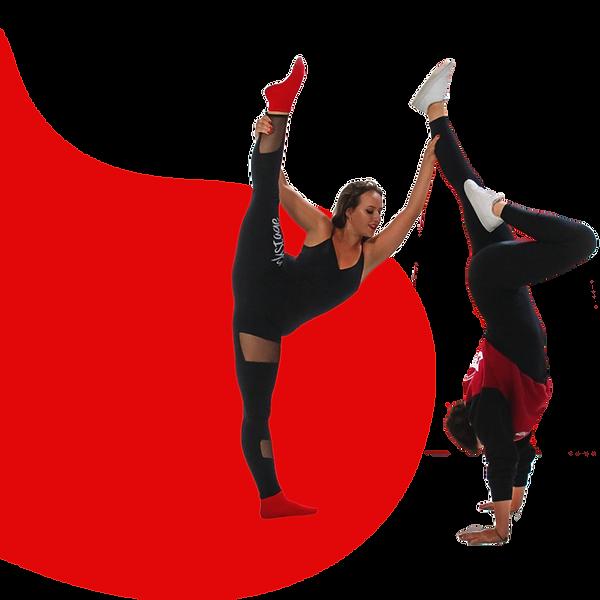 Duas bailarinas: uma segurando a perna no alto e outra de ponta cabeça em um passo de hip-hop.