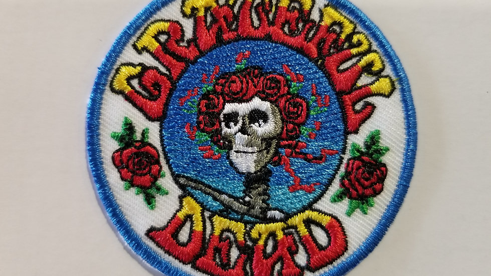 GRATEFUL DEAD SKULL AND ROSES EMBROIDERED PATCH