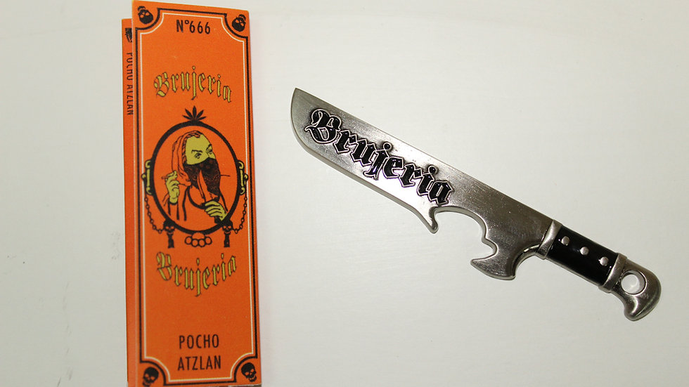 BRUJERIA MACHETE BOTTLE OPENER AND BRUJERIA ROLLING PAPERS