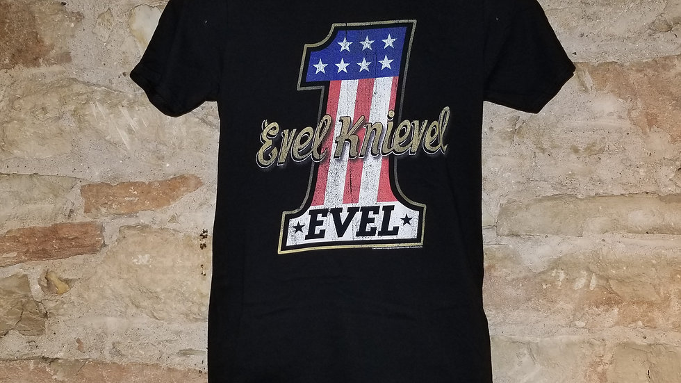 EVEL KNIEVEL NUMBER ONE LOGO TEE