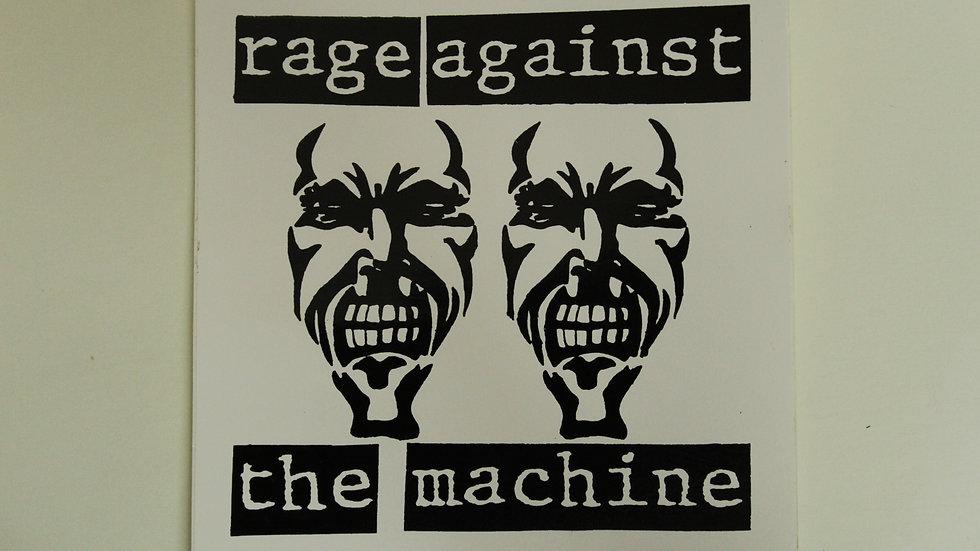 RAGE AGAINST THE MACHINE WHITE STICKER