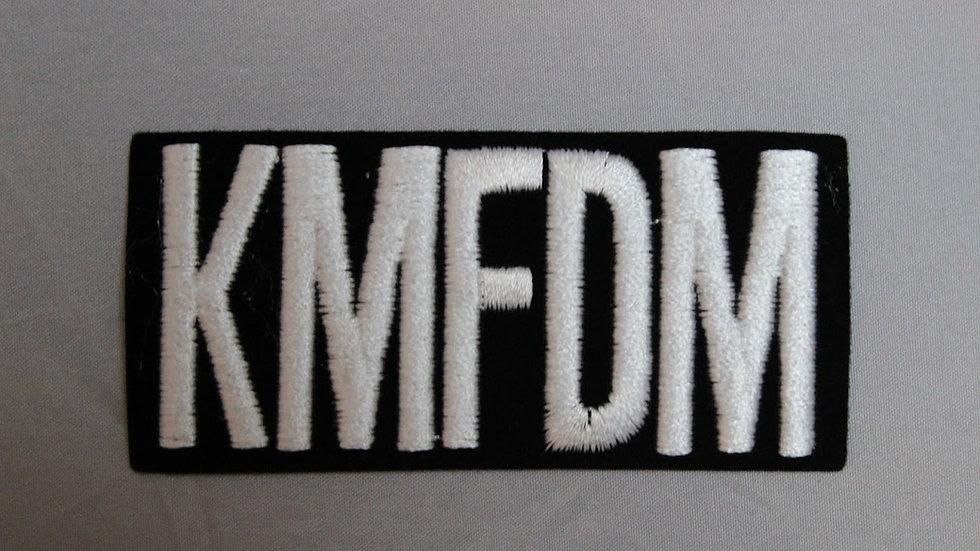 KMFDM WHITE LOGO PATCH