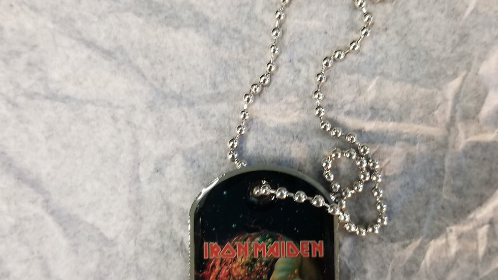 IRON MAIDEN FINAL FRONTIER CLOSE UP DOG TAG NECKLACE