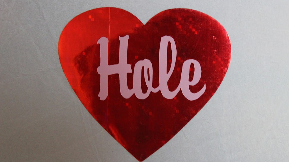 HOLE SPARKLY HEART STICKER