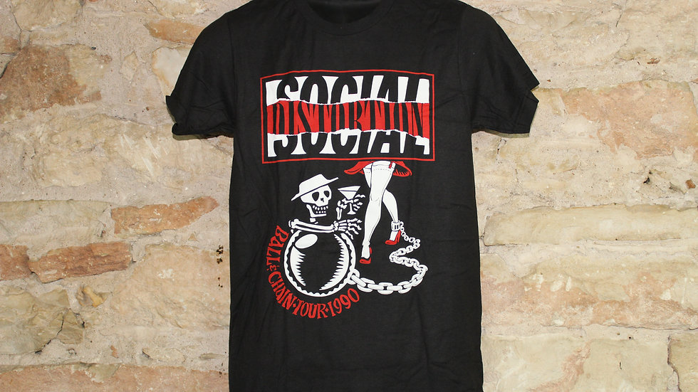 SOCIAL DISTORTION BALL & CHAIN TOUR 1990 TEE
