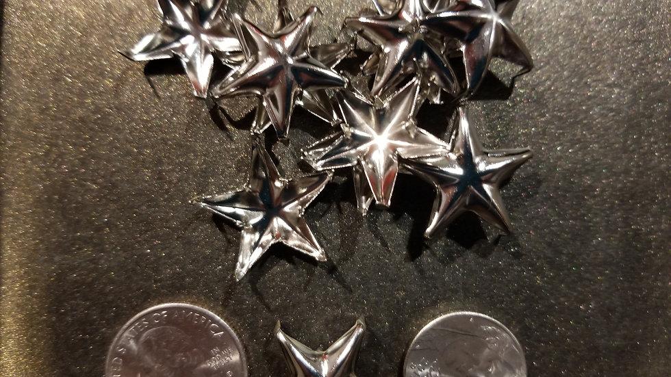 MEDIUM SILVER STAR STUDS 10 PACK
