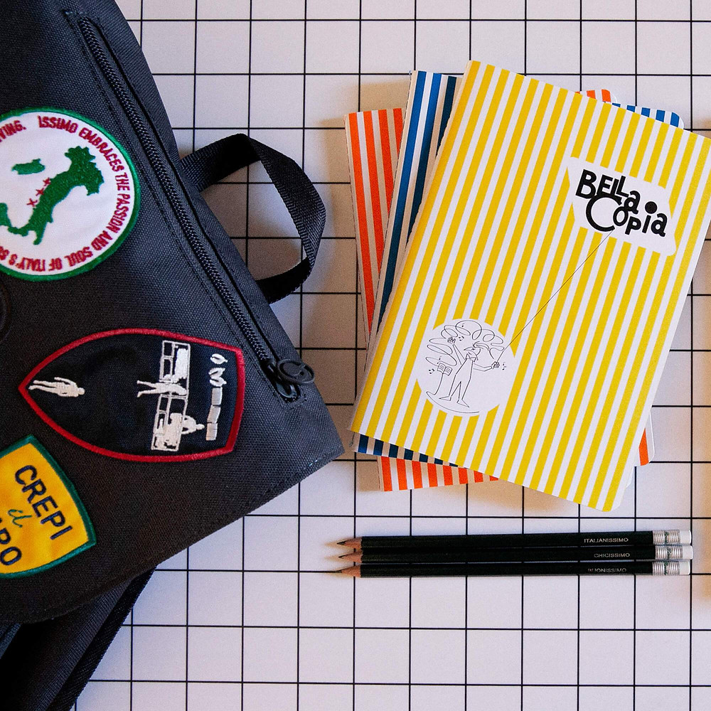"""Original re-edition of """"Bella Copia"""" Notebook created in 1952 , from Pigna's historical archive."""