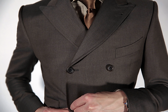 Double-breasted brown suit, custom made by MICHEL'S BESPOKE
