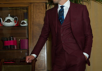 Red three-piece suit, custom made by MICHEL'S BESPOKE