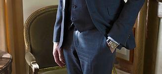 Navy three piece suit, custom made by MICHEL'S BESPOKE