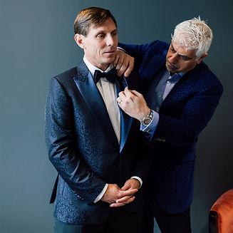 Groom dressing for his wedding with Michel Karkar. Groom is wearing a custom tuxedo, handmade in Toronto by MICHEL'S BESPOKE.