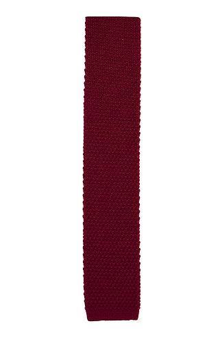 Dark Red Wool Knit Tie