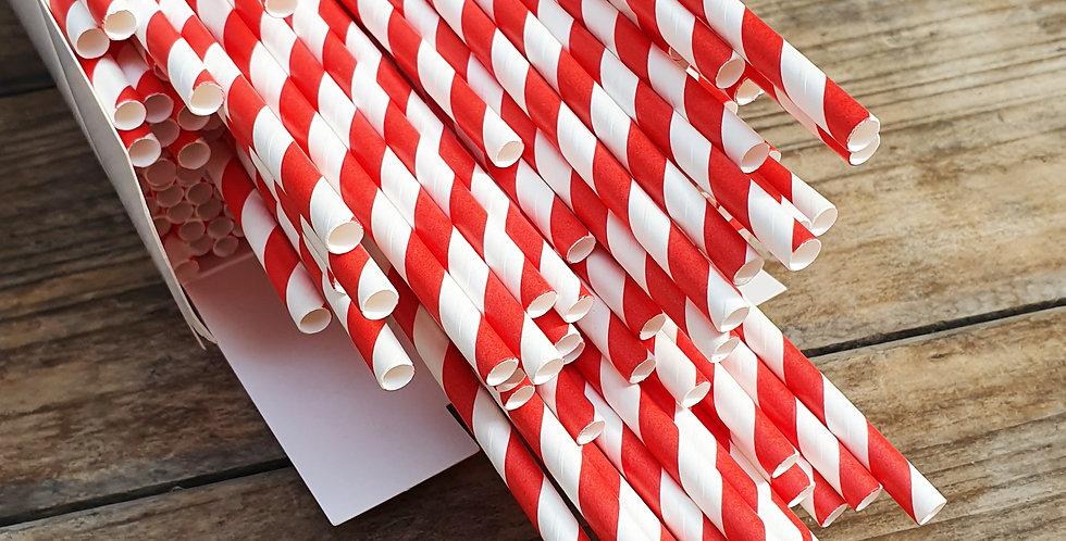 Red & White Paper Straws x500