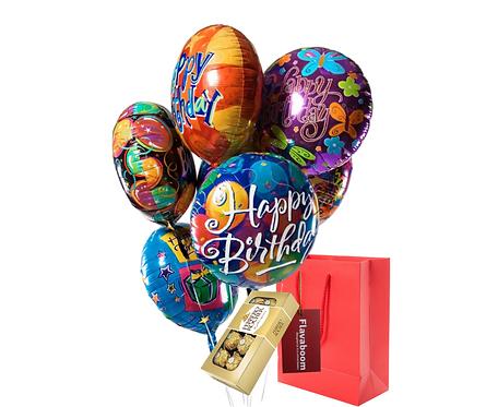 Bouquet Happy Birthday inflado con helio