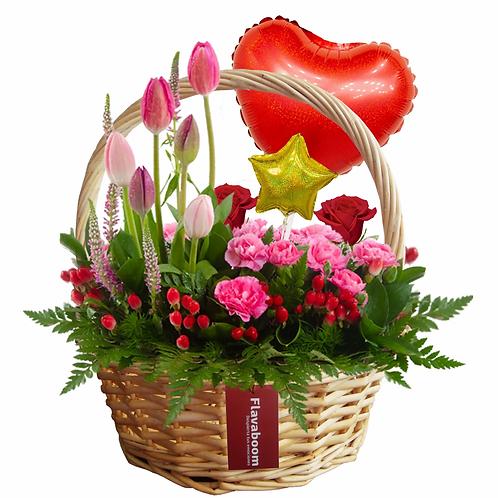Jardín de flores variadas